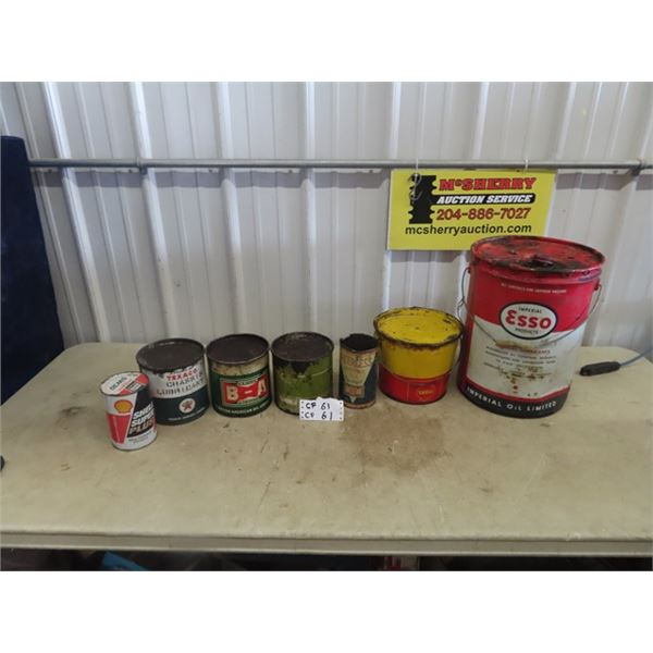 7 Oil Cans - BA , Shell, Texaco , ESSO, & Varcan