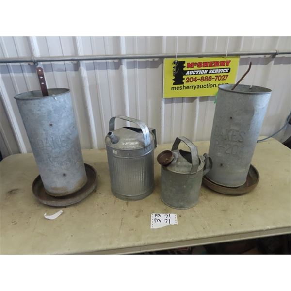 2 Chicken Feeders & Watering Cans