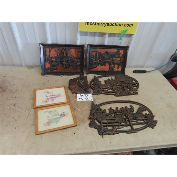 Copper craft, Embroidery Pictures, & Chalkware Horse