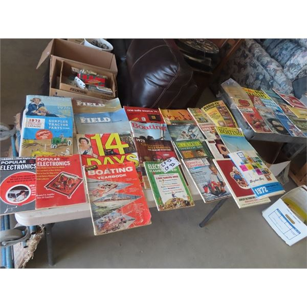 Approx 32 Old Magazines & Tractor Boks, Popular Electronics 60's & 70's Plus More