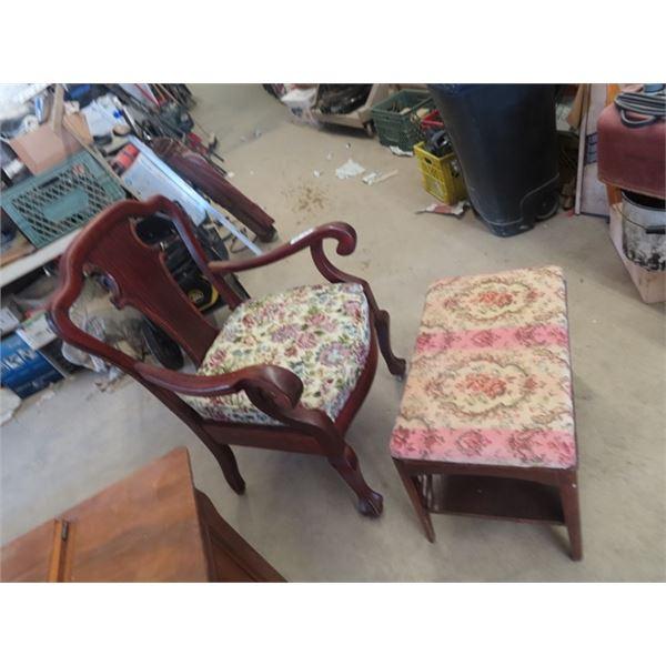 Mahogany Chair & Ottoman