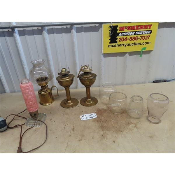 3 Brass Coal Oil Lamps , Bedroom Elec Lamp & Lanter Fonts