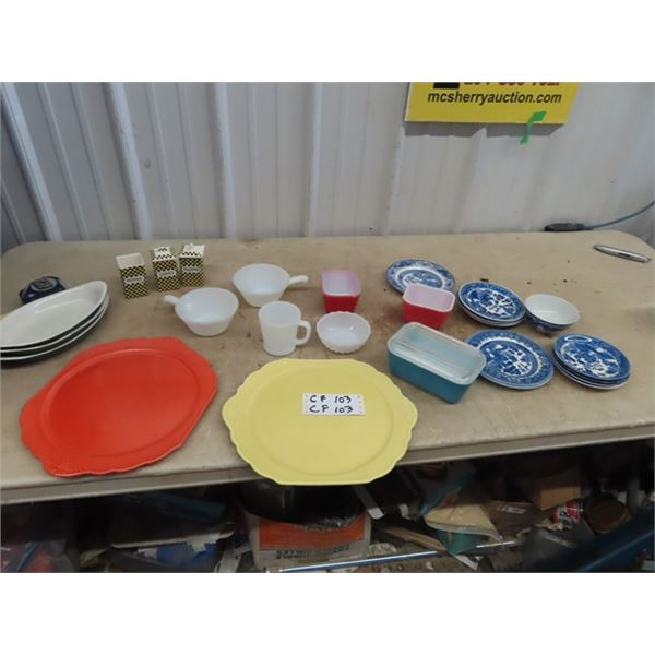 Pyrex Refridgerator Dish, Blue Willow, Spice Containers, 2 Medicine Hat Pottery Plates