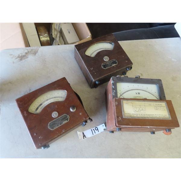 3 Vintage Testers - Westpm Volt Metwer, Weston Amp Meter & KW Meter
