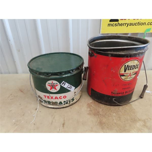 Texaco 25L Grease Pail w Lid & Veedol Grease Pail