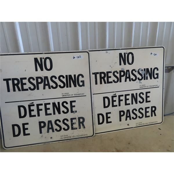 """2 Trespassing Minister of Transport Signs 30"""" X 30"""""""