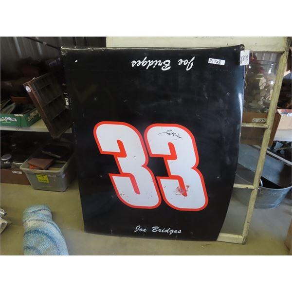 """Nascar Race Car Hood 40"""" x 53"""" - #33 Joe Bridges w Signature"""