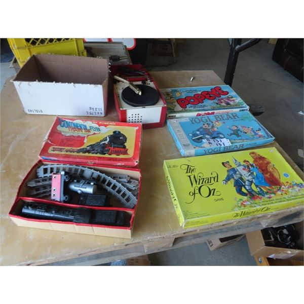 Continental Battery Train Set, Record Player, & 3 Vintage Board Games