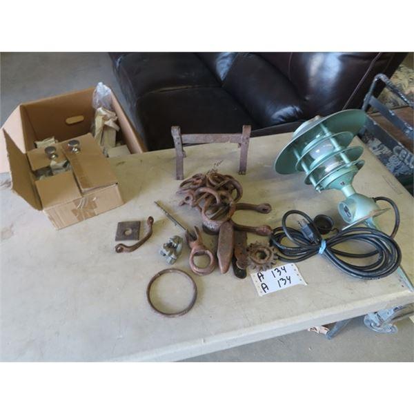 Boot Scraper, Repurpose Iron, Box of Cabinet Pulls, Light w Metal Shade