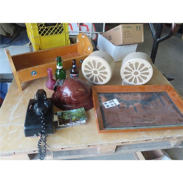 Ste of Atlas Speakers, Rotary Phone, Miner's Helmet, Doll Bed, Copper Last Supper Picture, & Postcar