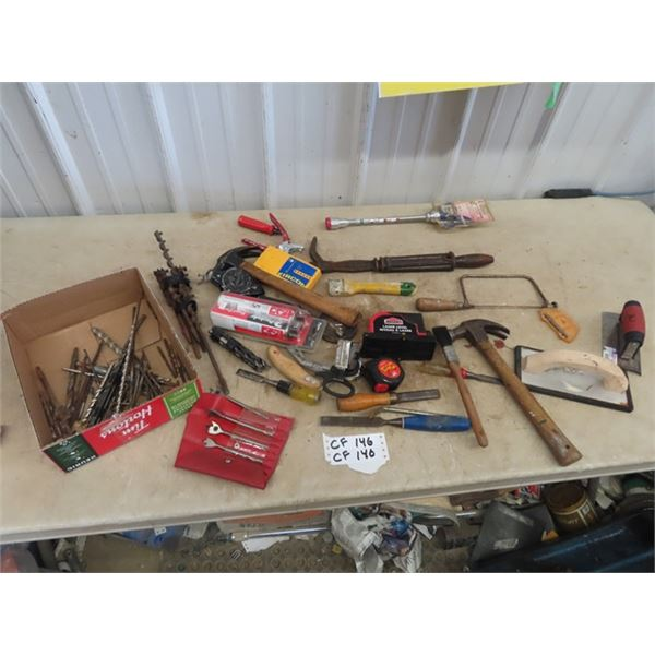 Drill Bits, Hammer, Nail Puller, Tape Measure, Chisels Plus More!