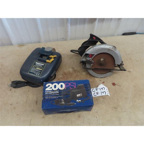 Mastercraft Wet Sharpener, Skil Circ Saw, 12 Volt Air Comp