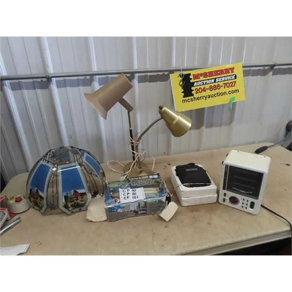 JD Lamp Shade , 2 Flex Lamps, Elec Heater, & Home Security