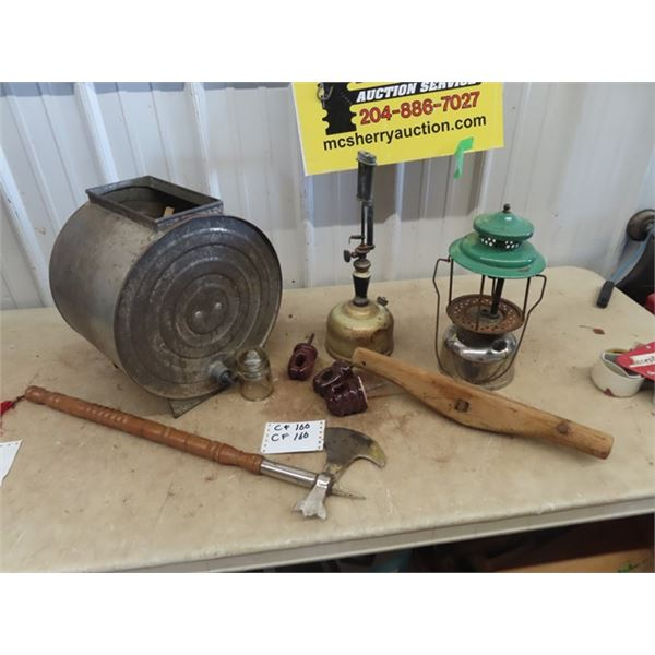Metal Butter Churn, Gas Lamps, Coleman Lamp, Decorative Lamp Plus More