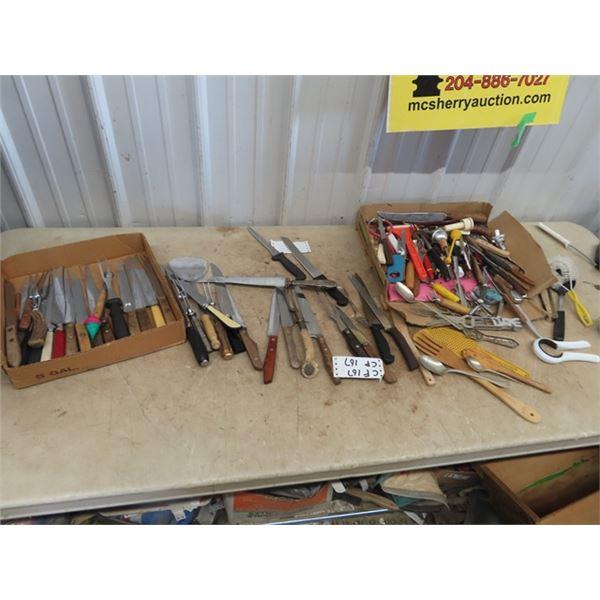 Knives, Utensils, Bottle Opener, - Large Amount