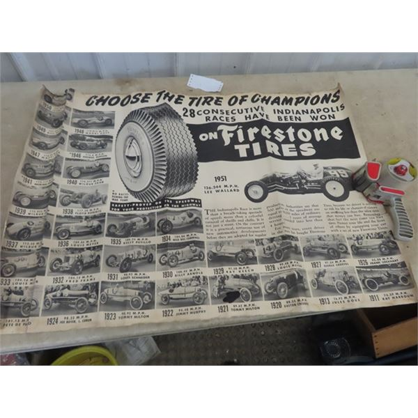 """Vintage Firesteone Poster w Race Cars, 1911 -1950- 36"""" x 36"""" , Ford Poster, Thunderbird, Pick Up , E"""