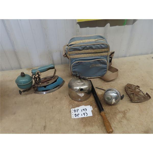 Coleman Iron, & Coleman Carry Bag & Parts