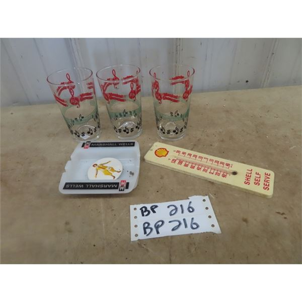 3 BA Musical Glasses, Marshall Wells Ashtray, & Shell Thermometer