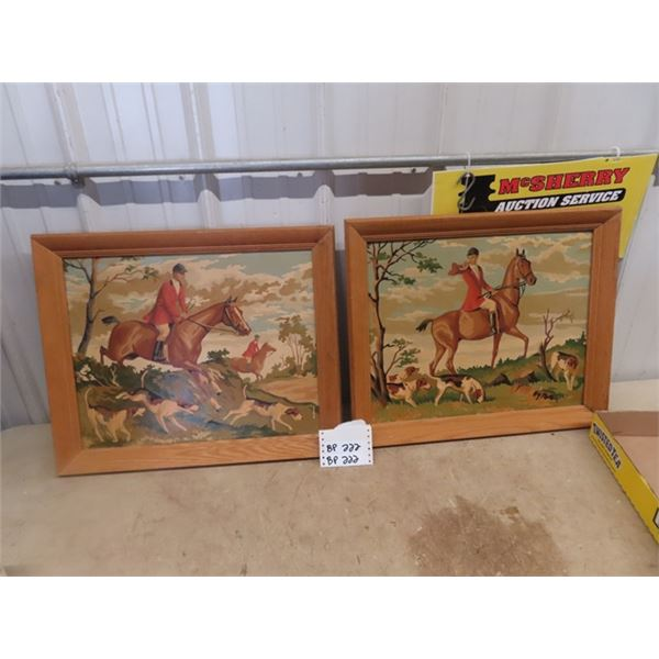 "2 -Fox Hunt Paintings 19"" X 22"""