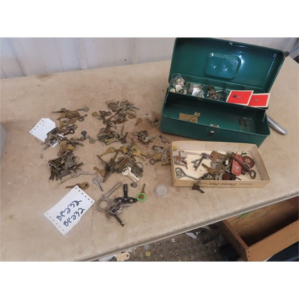 Metal Box w Keys, Pins, Red River Indian Dollar