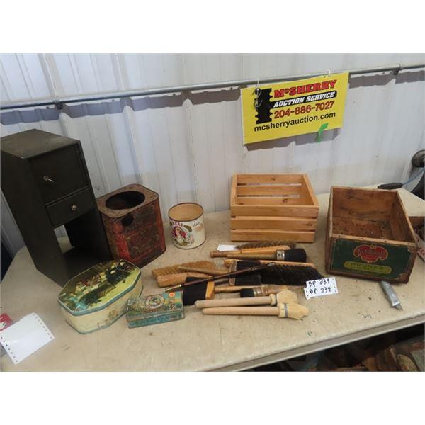 Fruit Crates, Cig TIn, Brushes, Metal Locking Cabinet