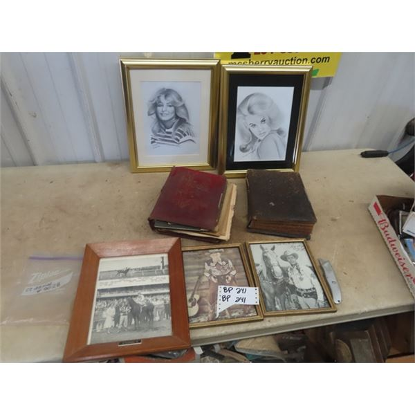 Drawings - Farrah Fawcette & Anne Margaret, Roy Rodgers Photo & 2 Old Photo Albums Full of Pictures