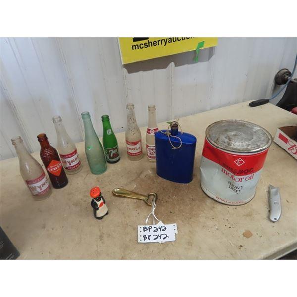Pop Bottles, Beehive Orange Crush, Wynola, 7 UP w Bottle Girl, Falstaffe, Bull Dog Oil Plus More!