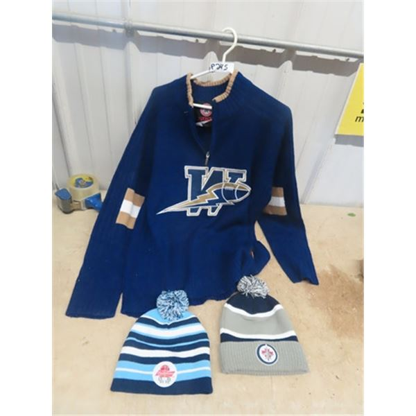 Wpg Blue Bombers Sweater - Size Large, & 2 Toques