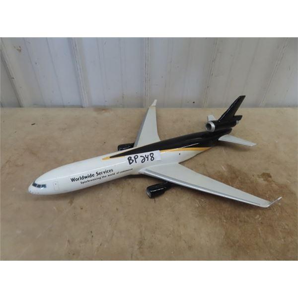"Plane Display, Heavy Plastic I Believe w GD Glass Adv World Wide Service 24"" L & 20"" WIng Span"