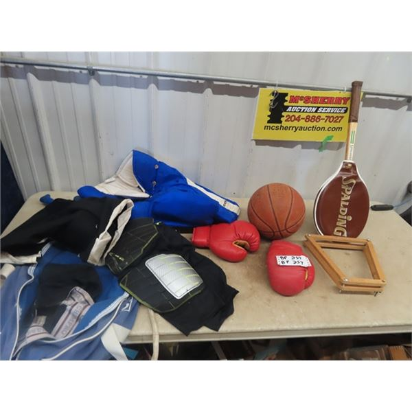 Hockey Pants, Boxing Gloves, Basket Ball, Tennis Racket