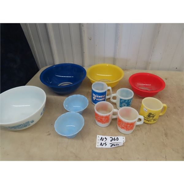 Set of 3 Mixing Bowls , Pyrex Bowl & Some Fire King Cups