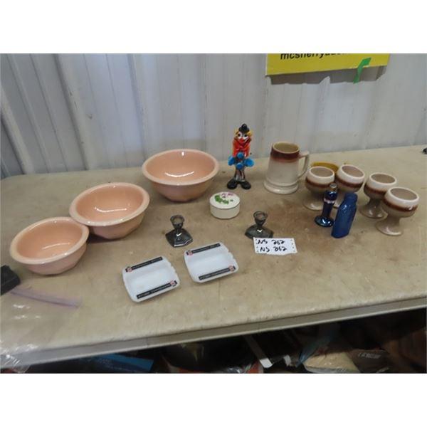 Set Cdn Potteries Mixing Bowls, Mashall Wells Ashtrays, Blown Glass Clown Ornament, Plus More!