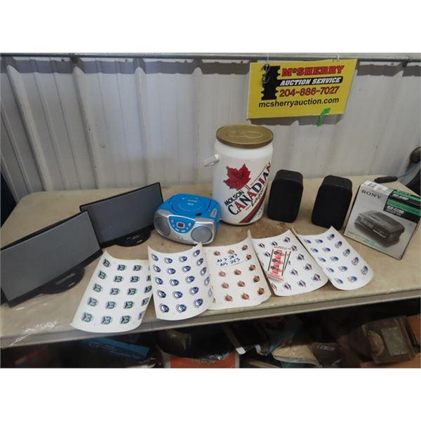 Moslson Cdn Cooler, Sylvania Disc Player Bose Set of Speakers, Radio/Alarm, Hockey Stickers Plus