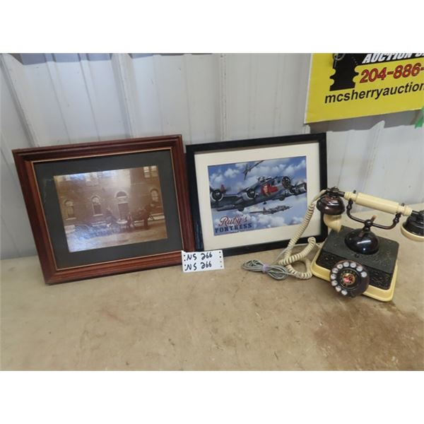 Rotary Desk Phone, Picture of Delivery Wagon & Ruby Fortress Fighting Plane