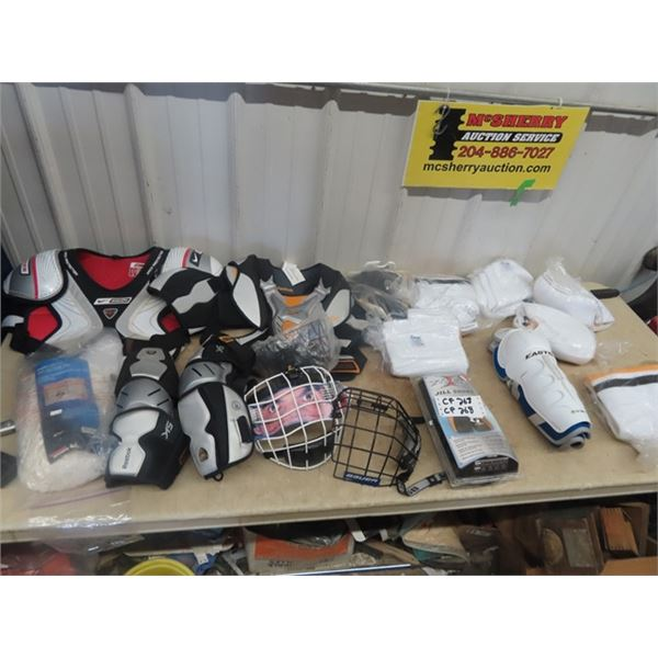 New Hockey Equip, Hockey Mask, Goal Net Replace Shorts,2 Shoulder Pads, Knee Pads, Elbow Pad, Socks