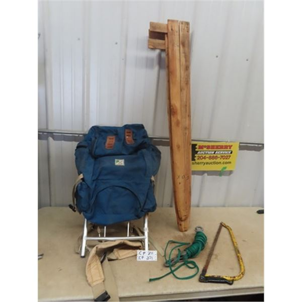 Back Pack, Rope, Pulley, Saw, Fox Hide Stretcher