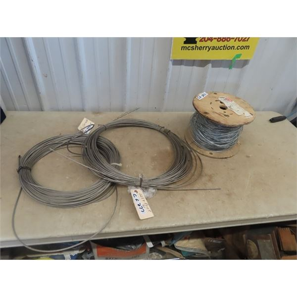 """Cable 1) 1/4"""" Stainless 150' & 1) 125' Spool of Fencing Wire"""