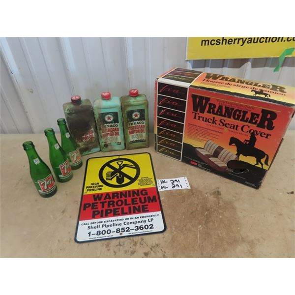 3 Texaco Outboard Oil Containers, 3 7 Up Bottles, Pipline Warning Signs, New Old Stock Wrangler Truc