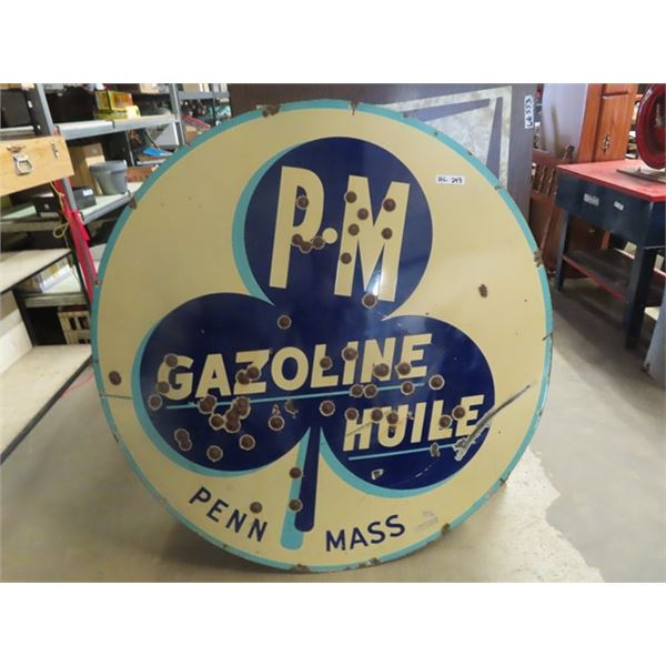 """Porc 60"""" 2 Sided PM Gazoline Huile - One Side is English One side is French"""