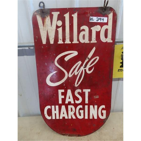 "Metal Willard Battery 2 Sided SIgn 30"" X 17"""