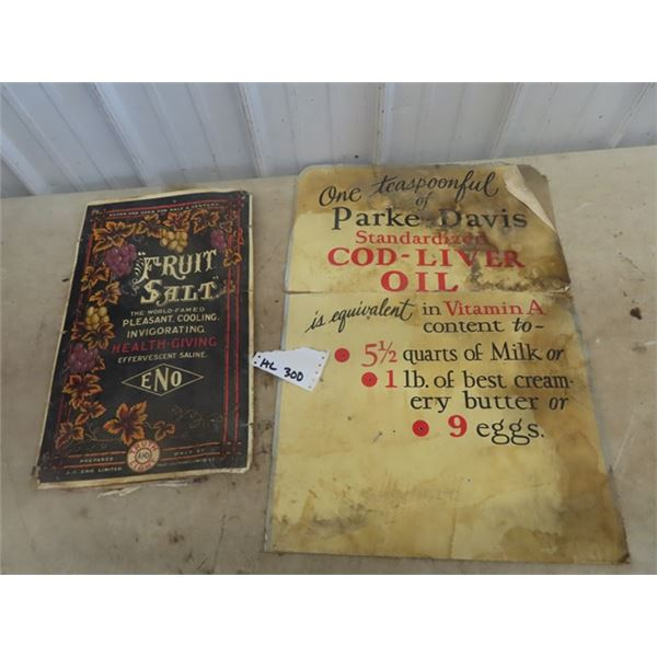 """Cardboard Fruit Salt Sign 13"""" x 20"""" & Parker Davis Cod Liver Oil 19"""" x 27"""" (In 2 Pcs)"""