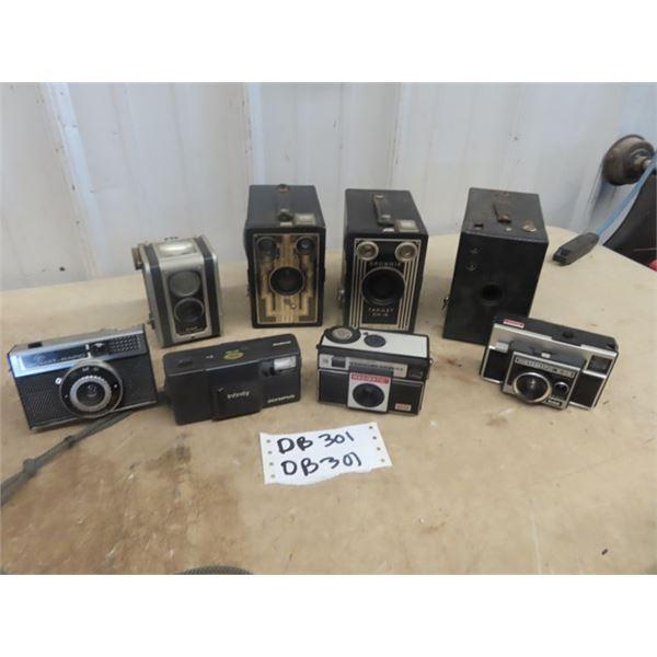 8 Cameras - Kodak Duaflex, Brownie Target Six -16, 2 Box Camera, Kodak Instamatic X-35, Magimatic, A