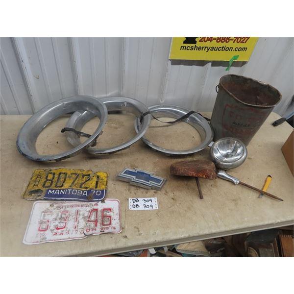 Coop Grease Pail, Chev Auto Emblem, Hubcap & License Plates