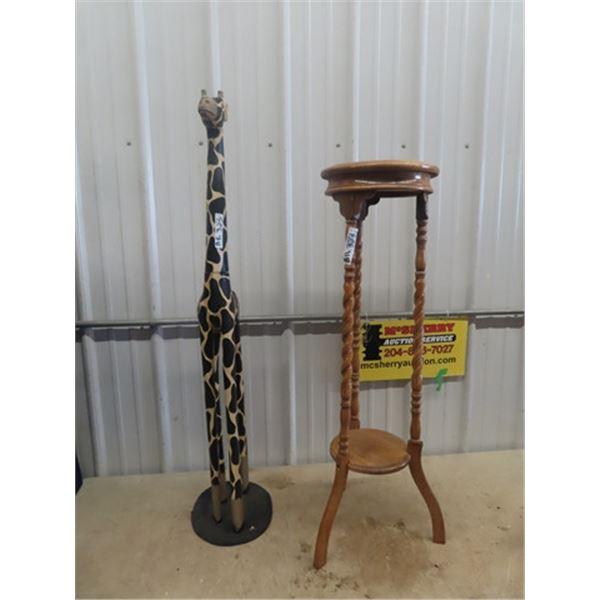 "Plant Stand 40""H 12""RD, Giraffe Ornament 48""H"