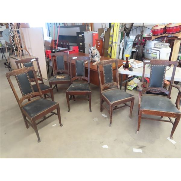 6 DR Chairs- Matching, 1 is A Captains Chair, 1 has Ripped Upholstery