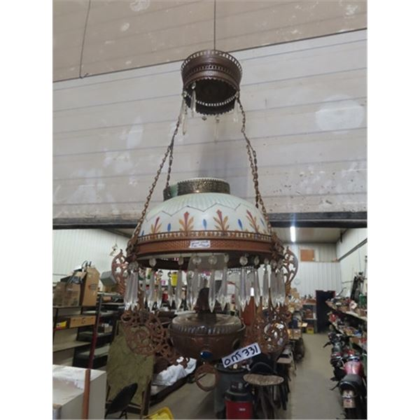 Hanging Coal Oil Lamp w Hand Painted Original Shade - Lots of Prisms- Gorgeous