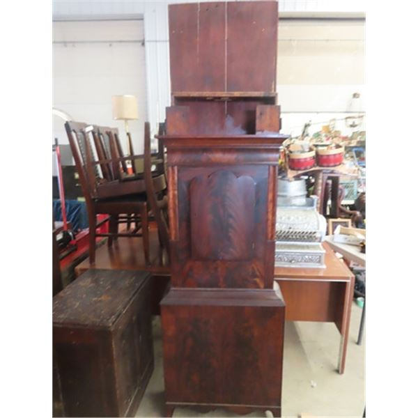 1880 Grandfather Clock, Hand Painted Face, Apart For Transport- Needs Assembly
