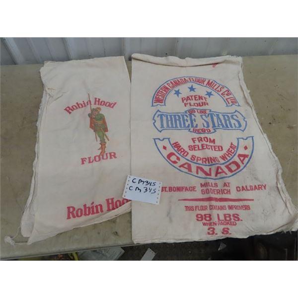 2 Vintage FLour Bags 1) Robin Hood & 1) Three Stars