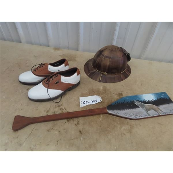 Miner's Helmet, Art on Wooden Paddle & Size 7 Golf Shoes