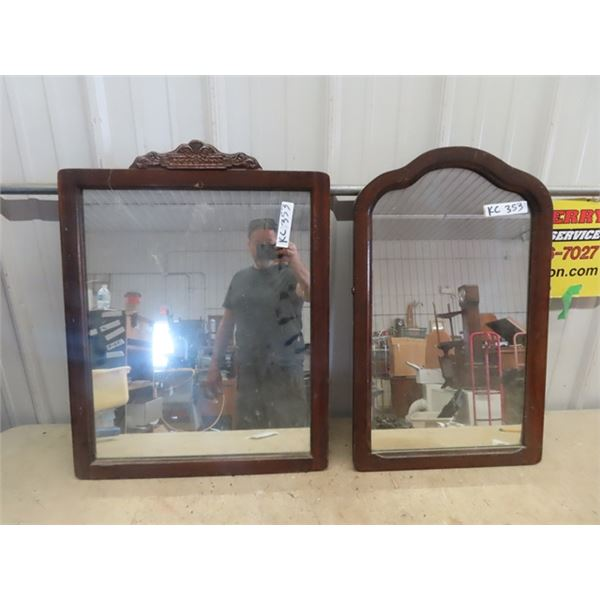 """2 Wooden Framed Mirrors 1) 21"""" x 27"""" & 1) 16.5"""" x 27"""""""